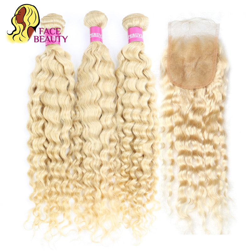 Facebeauty 613 Blonde Curly Hair Extension Peruvian Deep Wave 2 3 4 Bundles with 4x4 Swiss