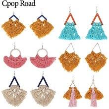 Cpop Boho Handmade Macrame Earrings Triangle Ethnic Feather