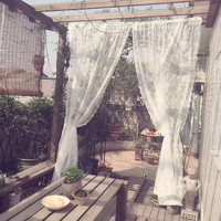 Yvonicky Summer Tulle Curtains Door Window Drape Panel Fresh Sheer Cute Scarf bedroom Solid White living Room Lace Cortinas