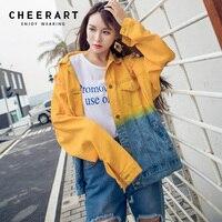 Cheerart Gradient Ripped Jean Jacket Women Harajuku Distressed Denim Jacket And Coat Yellow Blue Loose Overcoat Fashion 2018