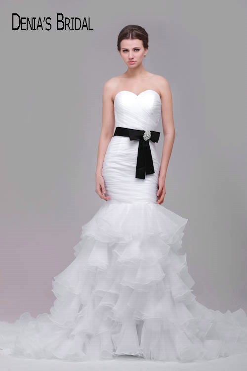 Actual Images Sweetheart Sleeveless Mermaid Wedding Dresses with Black Sash Pleats Ruffles Skirt Chapel Train Bridal Gowns