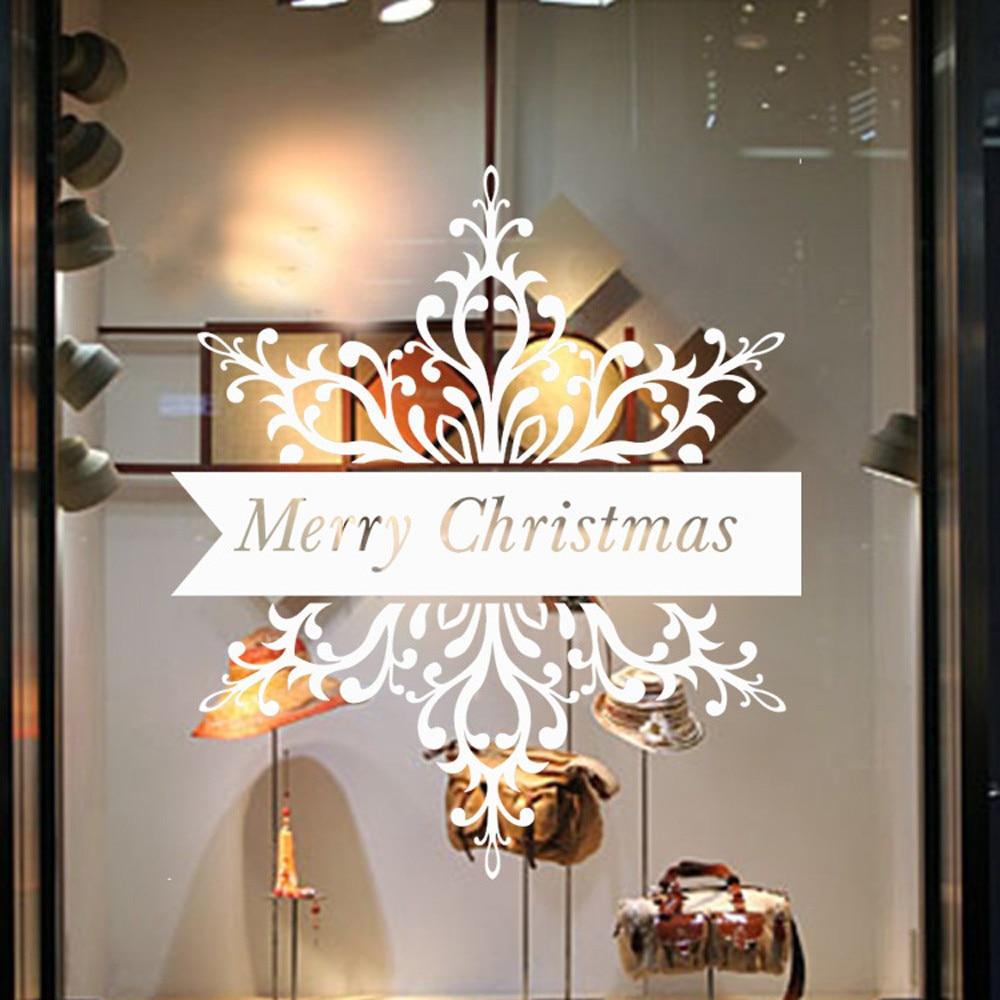 Merry Christmas Santa Claus Snow PVC Removable Wall ...