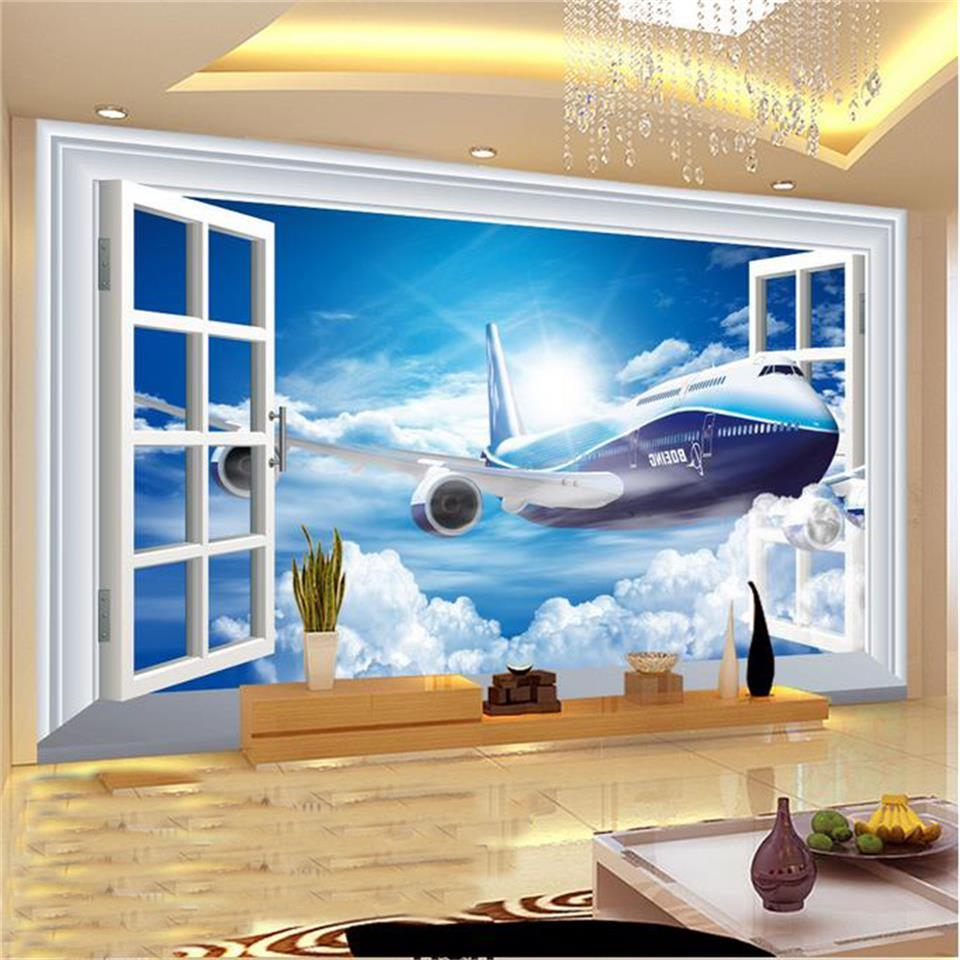 3d wallpaper photo wallpaper custom living room mural 3d window view and plane painting sofa TV background wallpaper for wall 3d custom modern 3d non woven photos wallpaper wall mural 3d wallpaper gold coast tv sofa wallpaper home decor for living room