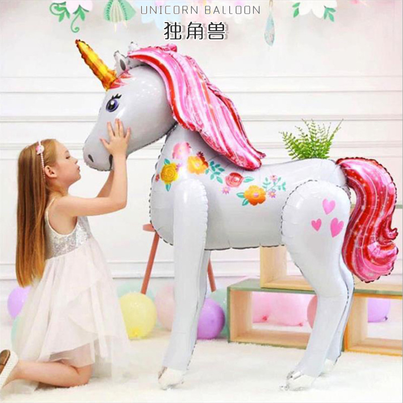 3.8ft Tall Unicorn Party Decorations 3D Walking Giant Unicornio Animal Foil Balloons Girls Birthday Party Decor Kids Supplies