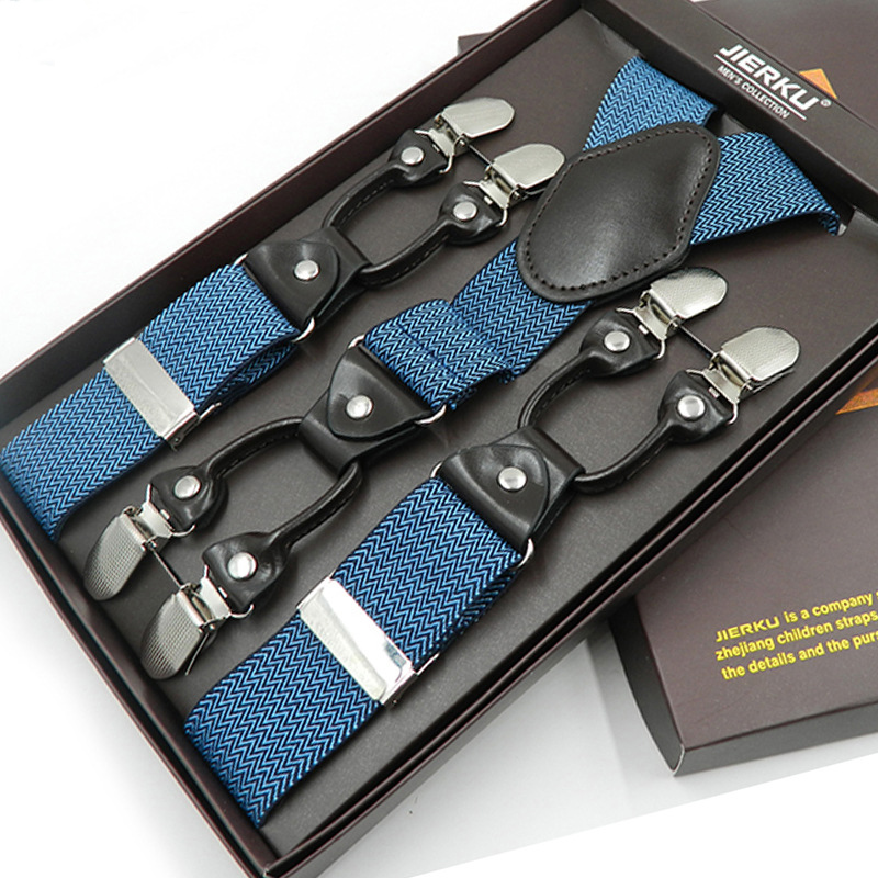 JIERKU Suspenders Man's Braces 6 Clips Suspensorio Fashion Trousers Strap Father/Husband's Gift 3.5*120cm JK6C08223