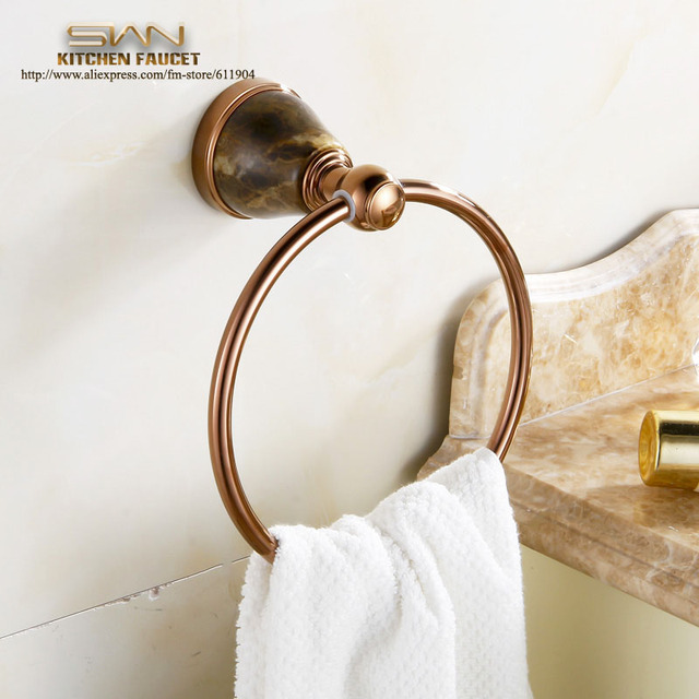 Free Shipping Luxury Rose Red Towel Ring Holder,Towel Rack,Towel Bar Bathroom Accessories Products Brass Brown Mesh Stone