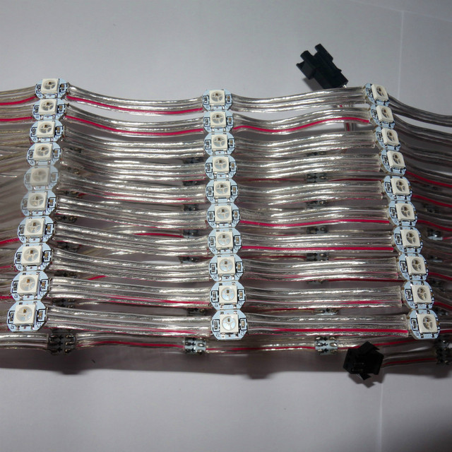 100pcs/string DC5V WS2812B addressable rgb full color pixel light;5cm wire spacing;with transparent wire