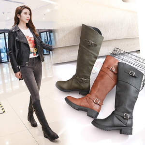 Image 4 - Drop shipping Winter Warm Fur Knee High Boots Womens Snow Boots High Heels Side Zipper Female Shoes Black Brown green Large Size