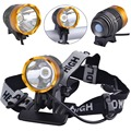 SingFire SF-90 CREE XML T6 1000lm 4-Mode White Bicycle Headlamp - Golden + Deep Grey (4 x 18650)