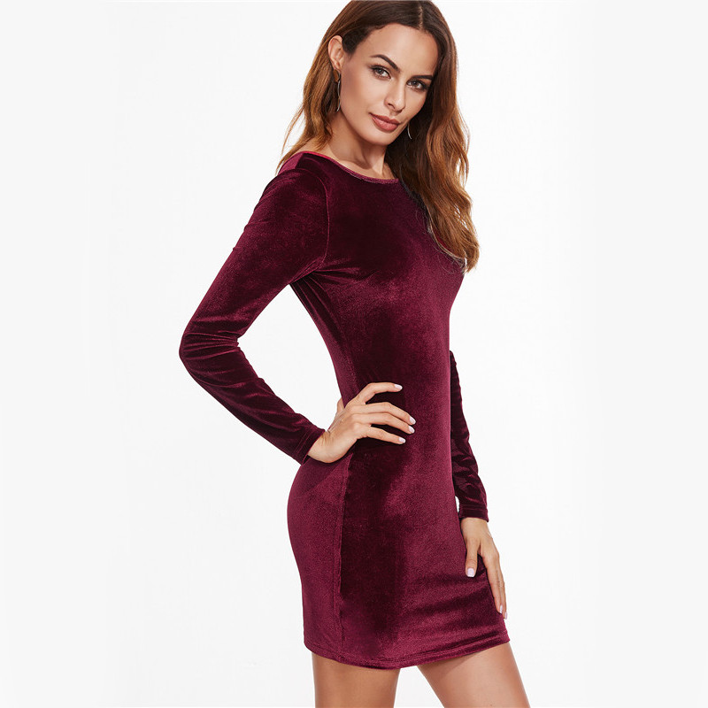 COLROVIE Sexy Club Outfits European Style Dress Party Short Long Sleeve Dress Burgundy Open Back Velvet Bodycon Dress 5