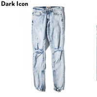 DARK ICON Dark Washing Stonewashed Destroyed Cool Jeans Men 2018 High Street Regular Men's Jeans Denim Pants Men