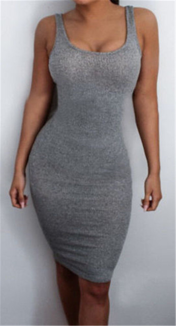Hot Sale women Package Hip Dress Bandage Bodycon Mini Dress High Waist Slim Solid Gray Casual Dress 3