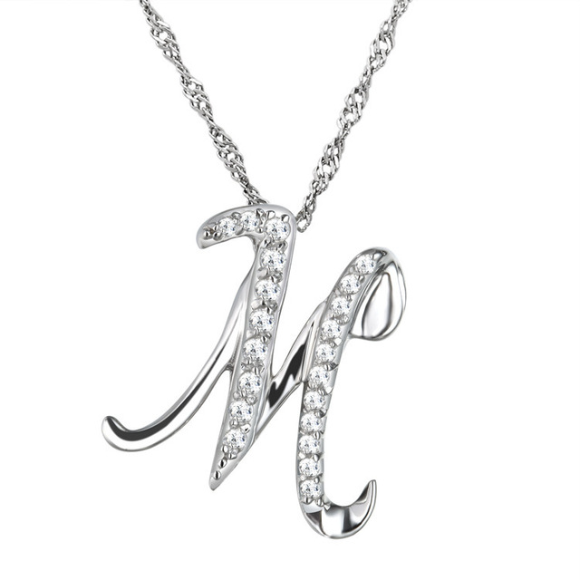 Aliexpress buy 10pcslot fashion simple crystal letter m 10pcslot fashion simple crystal letter m pendant necklace letters necklace with free clavicle chain aloadofball Image collections