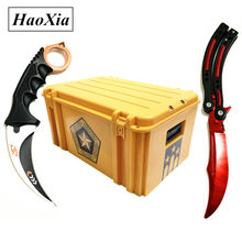 HAOXIA csgo box dull blade balisong butterfly in knife practice folding Knife trainer CS GO sharp karambit Knife +Plastic sca(China)