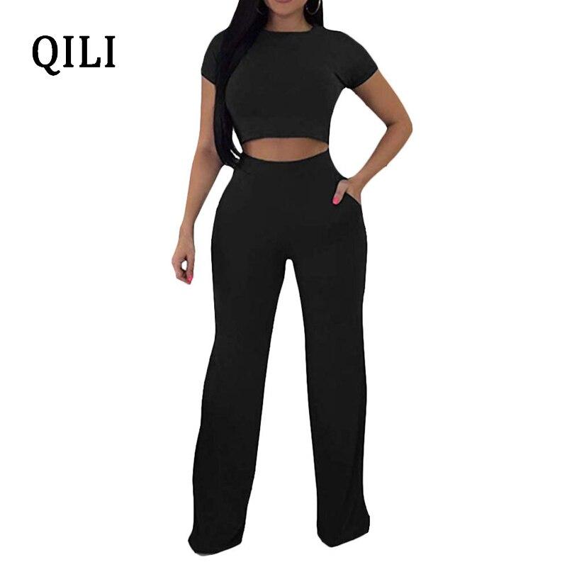 QILI 2 Piece Set Casual Jumpsuits Women Romper Short Sleeve Top+Wide Leg Pants Jumpsuit Women Fashion Jumpsuits Solid