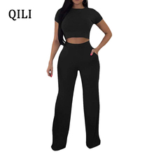 QILI 2 Piece Set Casual Jumpsuits Women Romper Short Sleeve Top+Wide Leg Pants Jumpsuit Fashion Solid