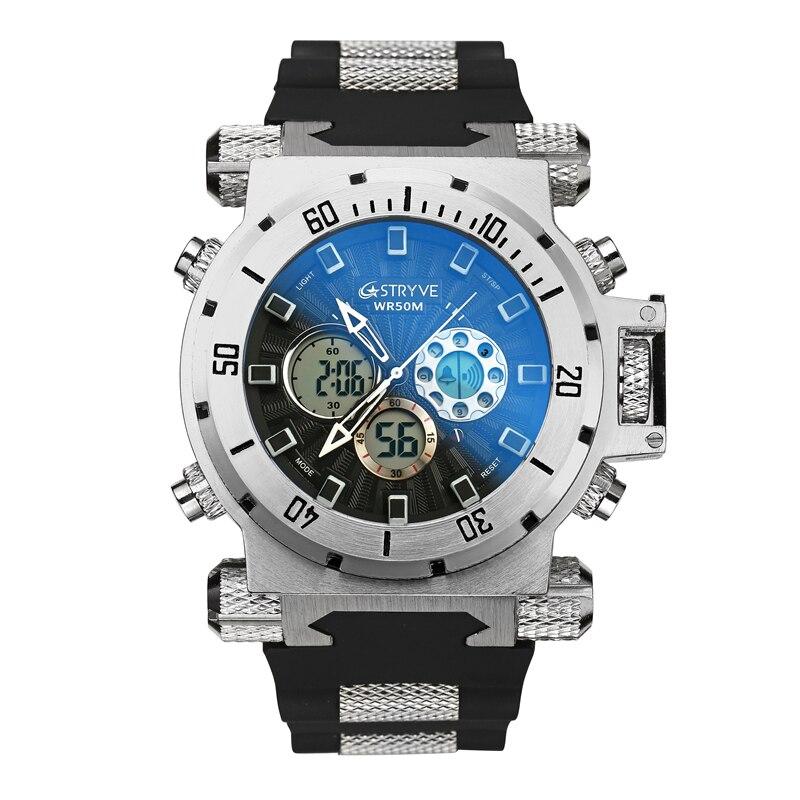 luxury STRYVE brand Men military sports watches Dual Time Quartz Digital analog Watch rubber band wrist watch relogio masculino 3
