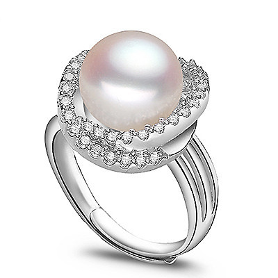 10 11mm Pearl Wedding Ring Pure 925 Sterling Silver Rings Natural Pearls Bridal Zircon