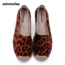 MInmclas  Alpargatas espadrilles Leopard print Comfortable Slip-on Womens Casual slippers Breathable Flax Hemp Canvas for girls