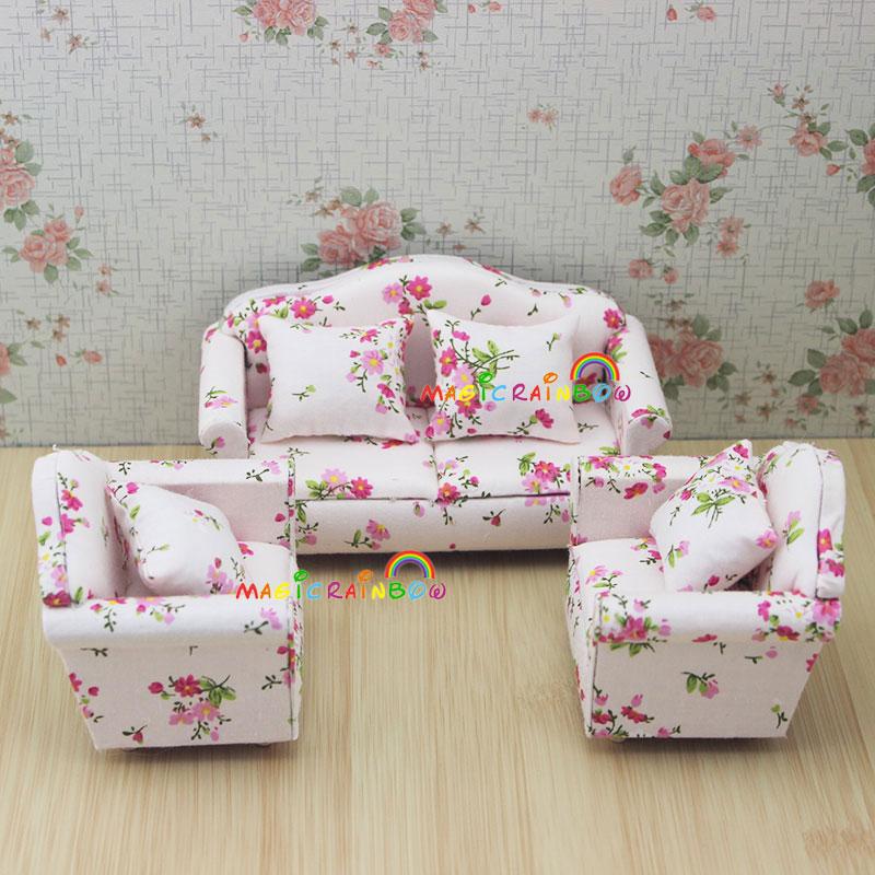 cool 12 scale dollhouse living room set | Dollhouse Miniatures 1:12 Scale Living Room Furniture Sofa ...
