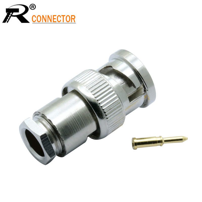 50 x BNC Male Clamp Plug Coaxial Cable Adapter Connector RG58//U