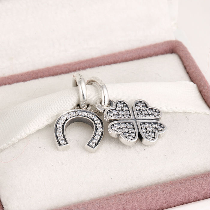 Fits Pandora Charms Bracelet and Necklace 925 Sterling Silver Charm Sets Four Leave Lucky Beads Women DIY Design Drop Shipping