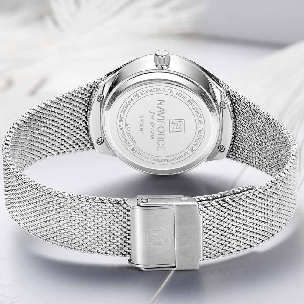 נשים שעונים NAVIFORCE למעלה יוקרה מותג ליידי אופנה מקרית פשוט פלדת רשת רצועת שעוני יד מתנה עבור בנות Relogio Feminino