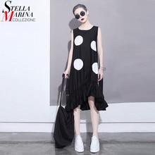 2018 корейский стиль лето женский, черный солнце платье большой в горошек без рукавов оборками подол прямой девушки милые миди платье на бретелях 1193