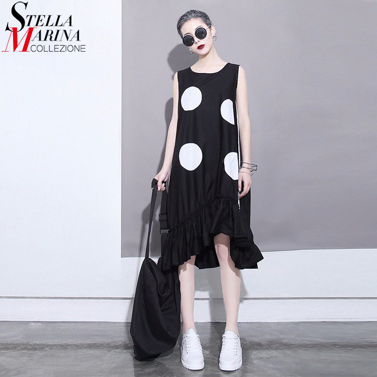 2018 Korean Style Summer Women Black Sun Dress Large Dots Print Sleeveless Ruffles Hem Straight Girls Cute Midi Tank Dress 1193