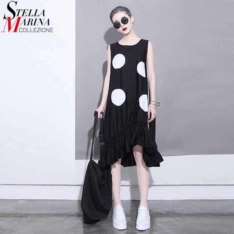 2018 estilo coreano mujeres del verano vestido negro sol grandes - Ropa de mujer - foto 1