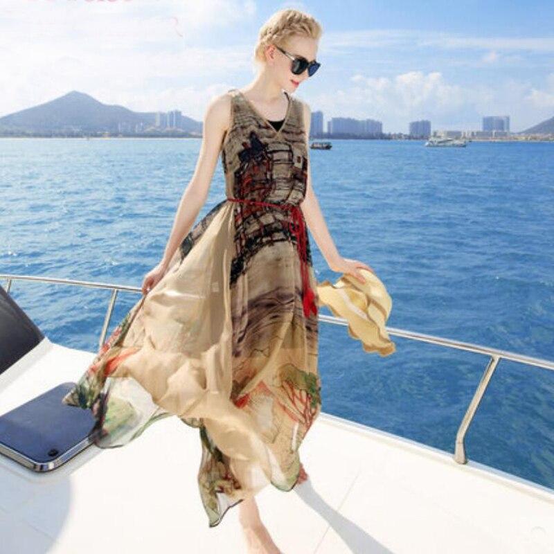 Bogeda Women Printed Silk Dresses 100%Silk V neck Knee length Belted Beach Dress 2020 Fall Sash Long Dress Vestidos