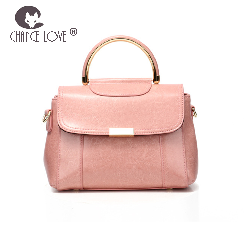 Chance Love 2018 new pink female bag retro wild crossbody bag ladies fashion one shoulder Genuine leather handbag Messenger Bags chance love 2018 new genuine leather women s handbag oil wax leather fashion wild crocodile pattern shoulder bag messenger bag