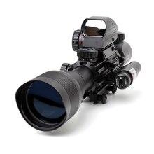 戦術ohhunt 4-12x50照らさレンジファインダーレティクルホログラフィック4レティクル視力11ミリメートルと20ミリメートル赤色レーザーコンボライフルスコープ