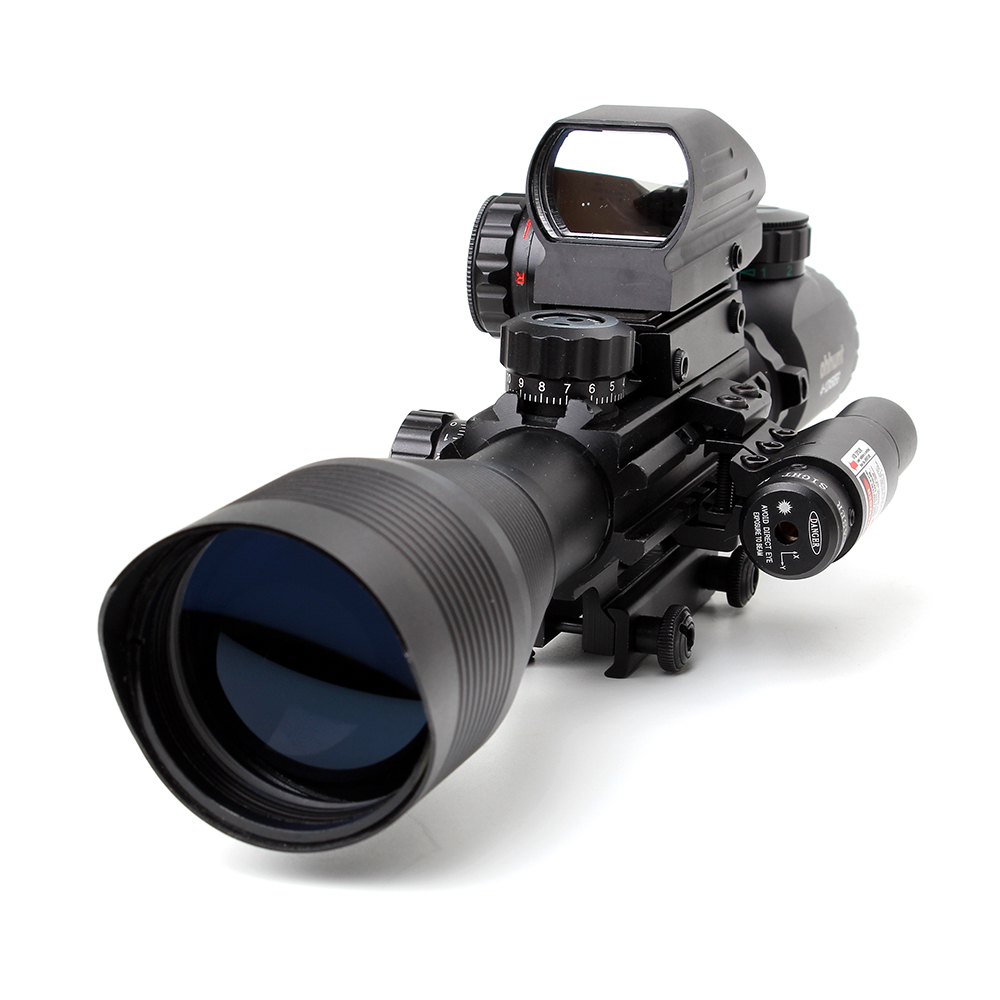 Tactical Ohhunt 4-12X50 Illuminated Rangefinder Reticle Holographic 4 Reticle Sight with Red or Green Laser Combo Rifle Scope