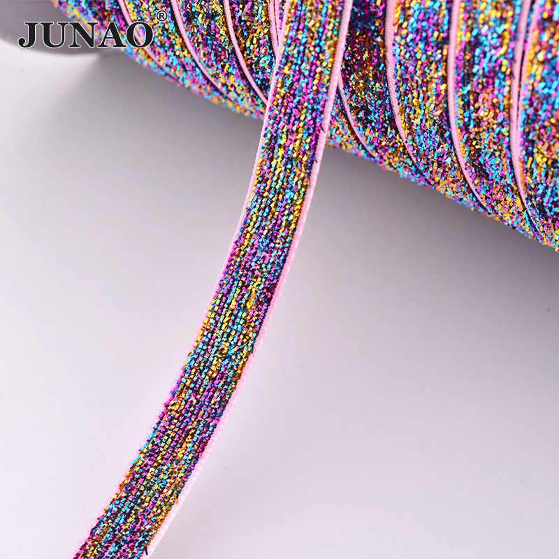 JUNAO 5 חצר * 10mm כסף שחור סרט לקצץ בעבודת יד גלישת מתנת סרט שיער קשתות מסיבת חתונת קישוט DIY בגדי מלאכות