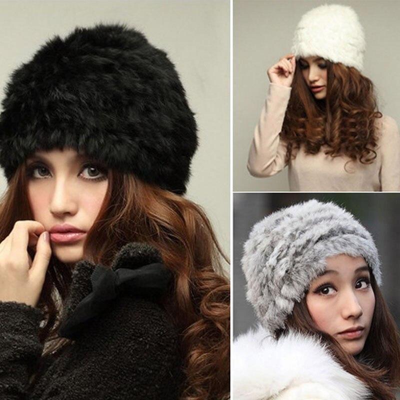 Fashion Russian Lady Rabbit Fur Knitted Cap Women Winter Warm Beanie Hat F05