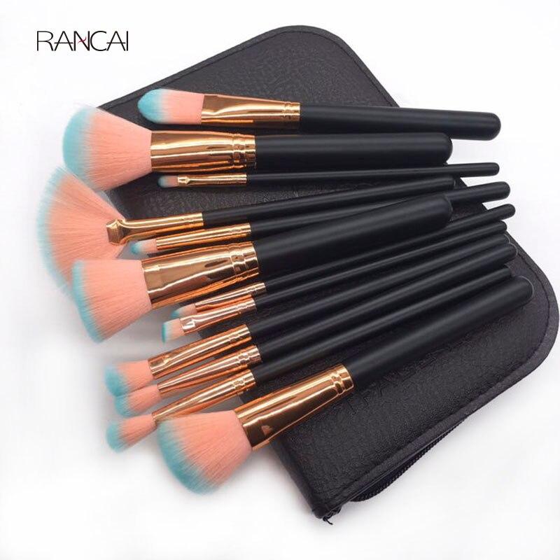 12 pcs Maquillage Pinceaux Fan Lâche Poudre Fondation Contour Blush Brosse À Sourcils Pincel Maquiagem avec Haute Qualité En Cuir Cas
