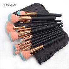 Купить с кэшбэком 12pcs Makeup Brushes Set Fan Loose Powder Foundation Contour Blush Eyebrow Brush Pincel Maquiagem with High Quality Leather Case