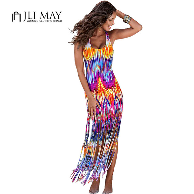 JLI MAY boho Print tassel beach long Dress summer Casual Sleeveless Ankle-Length Sheath bodycon women sexy maxi Tank dresses