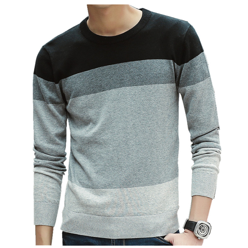 Pullovers Men Knitwear Slim-Fit O-Neck Homme Striped Casual Contrast-Color