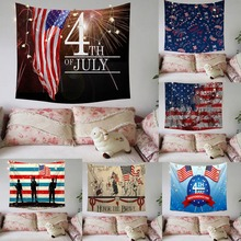 Independence Day Print Family Tapestry Light String Combination Wall Decoration Home Tapestry Wall Hanging Wall Decoration цена 2017