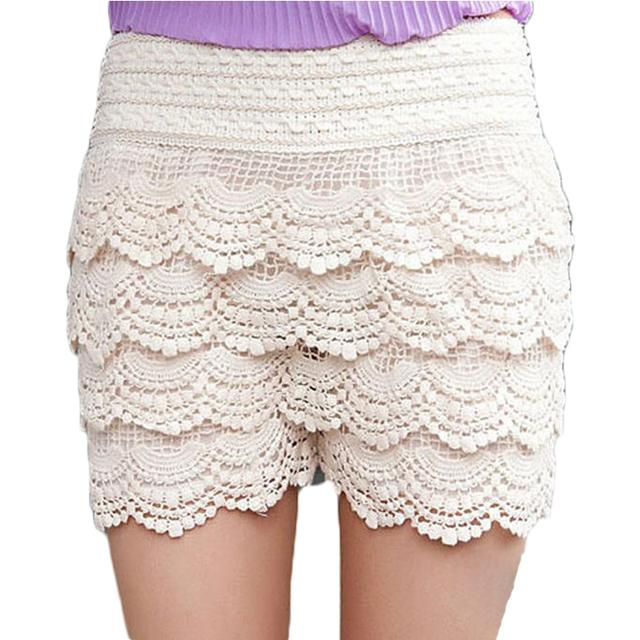 Moda branco e preto Lace Shorts 2016 calções mulheres cintura alta trabalho desgaste cintura elástica 581