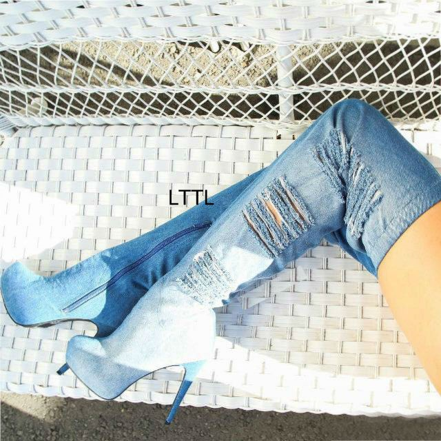 Stylish Design Distressed Denim Platform Long Boots Women Light Wash Blue Jeans Stiletto Heel Round Toe Thigh High Boots