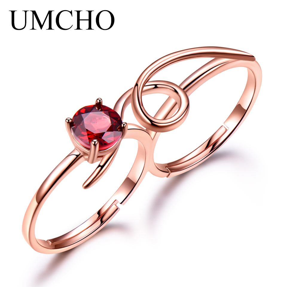 UMCHO 0.90ct Natural Garnet Solid Real 925 Sterling Silver Ring Colorful Gemstones Double Rings Engagement Wedding Fine Jewelry