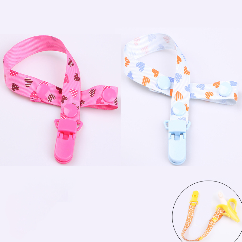 2 Pcs Love Pattern Anti Drop Rope Baby Pacifier Clip Chain Dummy Clip Nipple Holder Children Pacifier Clips Teether