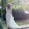 2017 Romantic Bohemian Beach Lace Wedding Dress Elegant Plus Size Floor Length Boho Wedding Gown Vestidos De Noiva