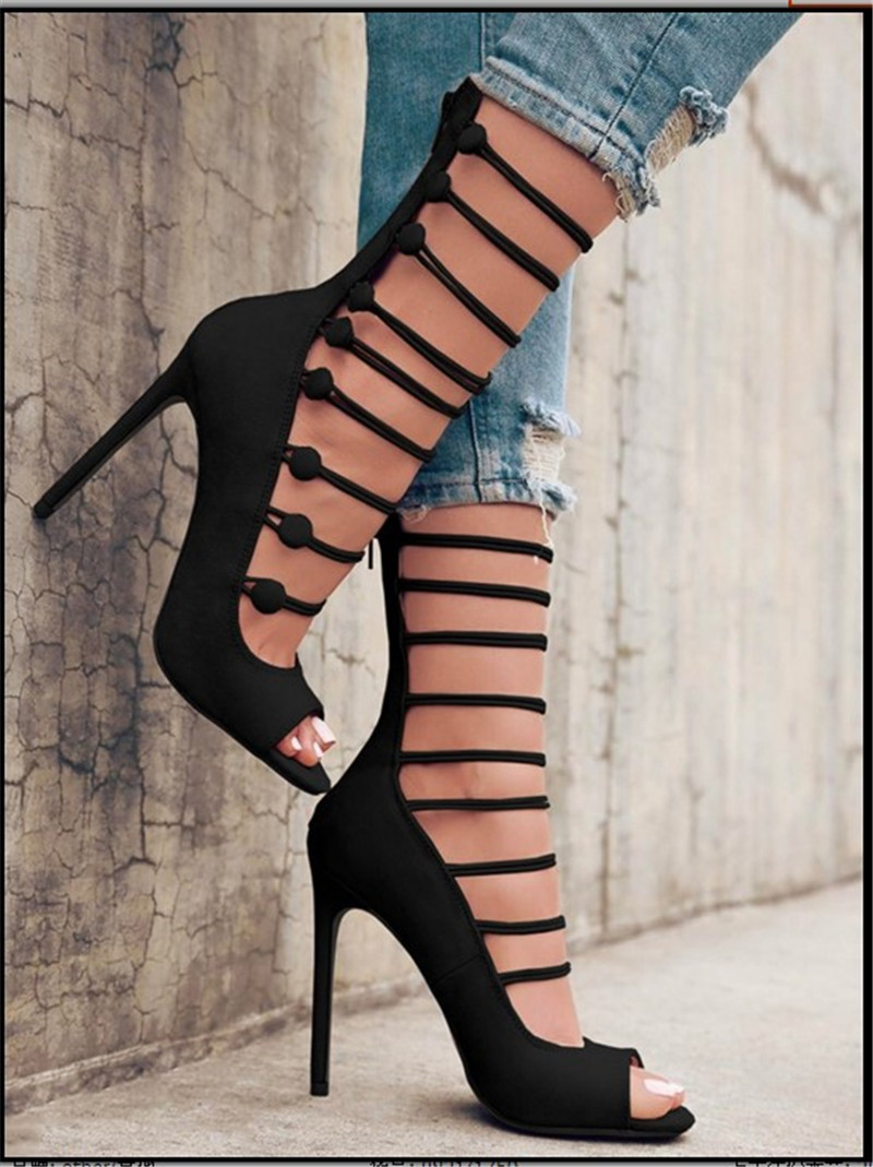 Women Fashion Open Toe Straps Design Suede Leather Short Gladiator Boots Cut-out Zipper-up High Heel Sandal Boots Dress Shoes spring new fashion women open toe suede leather cut out high heel ankle boots buckle design gladiator boots sandal boots