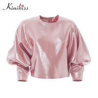 Kinikiss Women Blouse Solid Sleeve Pink Pleated Tops Autumn Fashion Modern Gloss Girl Female 2017 Loose