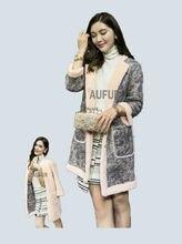 Genuine sheepskin Coat Women Winter Leather Jacket Real Lamb Fur Reversible Dress Soft Leather Printing AU00661