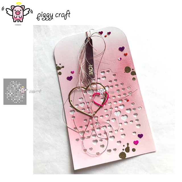 Piggy Craft metal cutting dies cut die mold Love heart background Scrapbook paper craft knife mould blade punch stencils dies